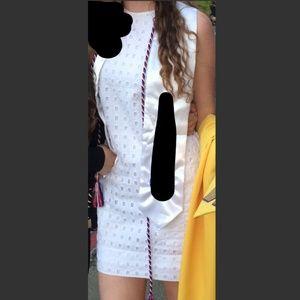 White eyelet shift dress